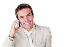 Charming businessman using a mobile phone Royalty Free Stock Photography