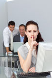 Charming businesswoman asking for silence Royalty Free Stock Image