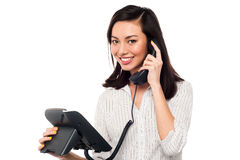 Charming businesswoman attending client's call Royalty Free Stock Photography