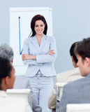 Charming businesswoman doing a presentation Royalty Free Stock Photos