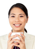Charming businesswoman drinking coffee Royalty Free Stock Photo