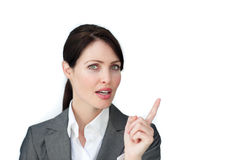 Charming businesswoman pointing Royalty Free Stock Photo