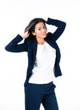 Charming businesswoman posing in studio Royalty Free Stock Photos