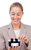 Charming businesswoman searching for the index Stock Photo