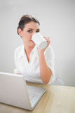 Charming businesswoman working on laptop drinking coffee Royalty Free Stock Photo