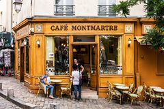 Charming Cafe Montmartre on Montmartre hill. Paris, France Stock Images