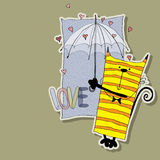 Charming cat under umbrella. Cat with umbrella under the rain of hearts Royalty Free Stock Image