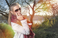 Charming Caucasian Blond Woman In Glasses Royalty Free Stock Photography