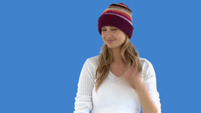 Charming caucasian woman with a colorful hat Royalty Free Stock Photography