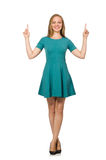 The charming caucasian woman wearing green dress isolated on white Stock Images