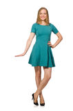 The charming caucasian woman wearing green dress isolated on white Stock Photography