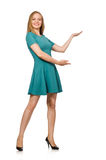 The charming caucasian woman wearing green dress isolated on white Stock Photo