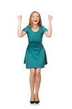 The charming caucasian woman wearing green dress isolated on white Royalty Free Stock Photo