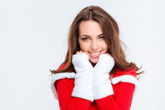Charming cheerful girl in red santa claus costume Stock Photo