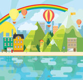 Charming and cheerful graphic city illustration. This is a graphic illustration of a charming city with mountains and hot-air balloons vector illustration