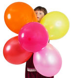 Charming child with air baloons Royalty Free Stock Photos
