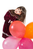 Charming child with air baloons Royalty Free Stock Photography
