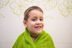 Charming child in bathroom royalty free stock images
