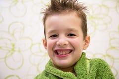 Charming child boy in bathroom stock photo