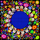 Charming children on a globe. This image is a vector illustration and can be scaled to any size without loss of resolution. This image will download as a .eps Stock Photo