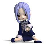 Charming china cartoon figure in dark blue Royalty Free Stock Photo