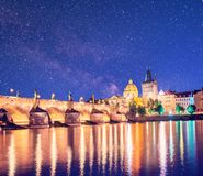 Charming city landscape over the Vltava river in the old city of stock image