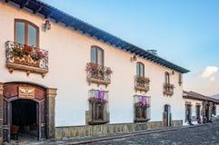 Charming Colonial Facade of a house in Antigua, Guatemala stock photo
