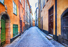 Charming colorfu narrow streets of old town in Stockholm, Sweede royalty free stock photo