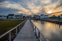 Charming Colorful Houses along a Canal and Sunset in Bonavista, Newfoundland Stock Photos