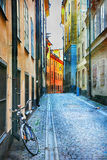 Charming Colorful Streets Of Old Town In Stockholm, Sweeden Stock Photo