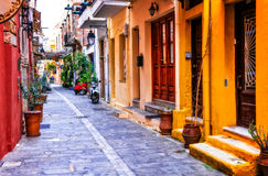 Charming colorful streets of old town in Rethymno, Crete island, Greece stock photography
