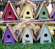 Charming Colorful Wooden Birdhouses Stock Photo