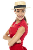 Charming confident baker woman posing casually Stock Images
