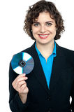 Charming corporate lady holding data disc Stock Photos