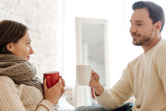 Charming couple drinking tea at home Stock Image