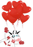 Charming cow and balloons in the shape of a heart Stock Photos
