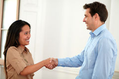 Charming coworkers couple giving hands greeting Stock Image