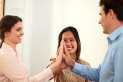 Charming coworkers team huddle their hands Stock Images
