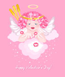 Charming cupid sends kisses. Beautiful greeting card Stock Image