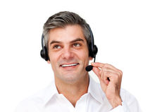 Charming customer service agent with headset on Stock Photos