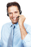 Charming customer service agent talking on headset Royalty Free Stock Photos