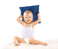Charming cute little girl with a pillow Royalty Free Stock Image