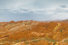 Charming Danxia landform. East Asia Chinese, Gansu Province, Danxia landform, rich colors, unique shape, was named a world heritage stock image