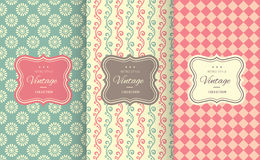Charming different vector seamless patterns. Stock Images