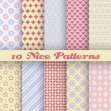 Charming different vector seamless patterns. 10 Charming different vector seamless patterns (tiling). Endless texture can be used for printing onto fabric and Royalty Free Stock Images