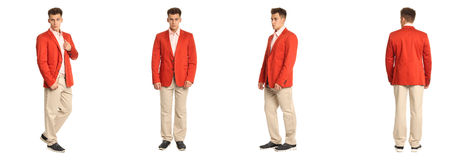 Charming elegant man in red jacket over white background Stock Image