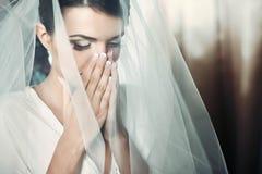Charming elegant young bride Stock Photos