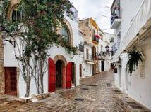Free Charming Empty Cobblestone Street Of Old Town Of Ibiza. Spain Royalty Free Stock Photos - 118330378