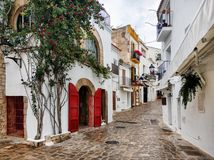 Charming empty cobblestone street of old town of Ibiza. Spain. Charming empty cobblestone white-washed street of old town of Ibiza Eivissa, Balearic Islands royalty free stock photos