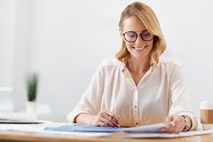 Charming engineering specialist working in the office Royalty Free Stock Image